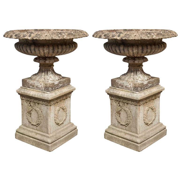 Pair of Cast Stone Tazza Urns on Plinths