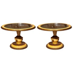 Pair of Circular Low Tables with Gilt Glass Tops