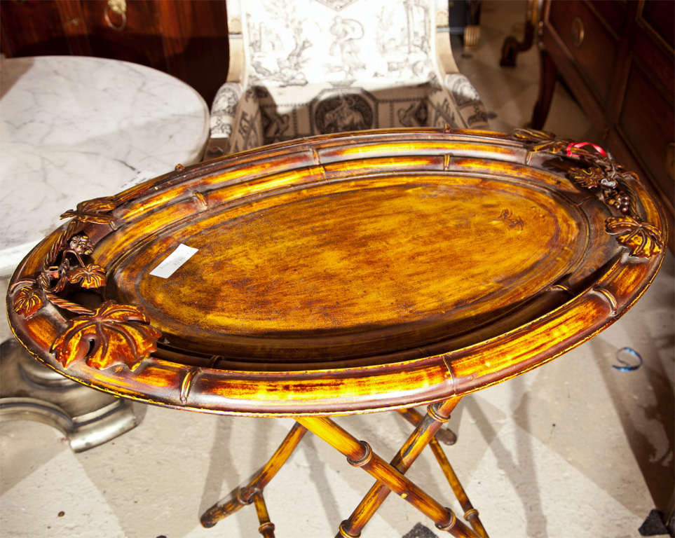 Vintage Faux Bamboo Tray on Stand In Good Condition For Sale In Stamford, CT