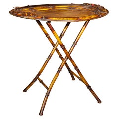 Vintage Faux Bamboo Tray on Stand