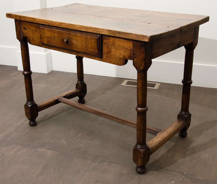 Antique Wooden End Table With Drawer Rustic Wood Top Turned Legs