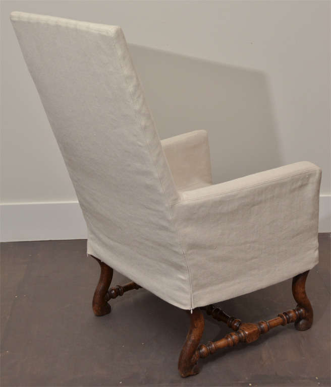 High Back Arm Chair with Slipcover For Sale at 1stdibs
