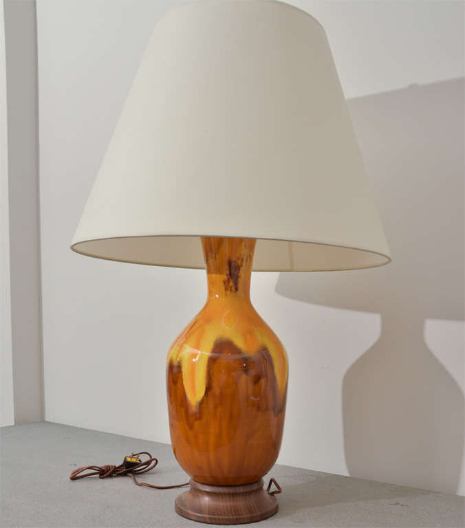 American Brown and Yellow Ceramic Lamp For Sale