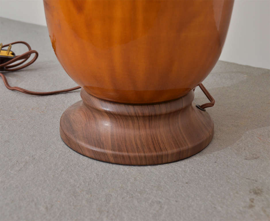 Brown and Yellow Ceramic Lamp In Excellent Condition For Sale In New York City, NY