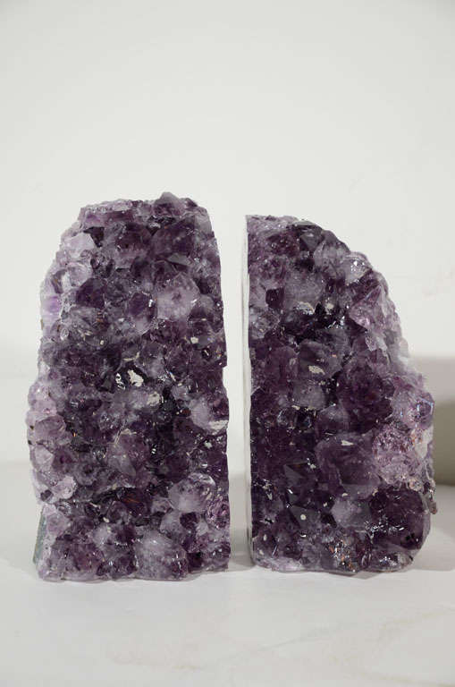 Pair of Amethyst Crystal Geode Bookends image 2