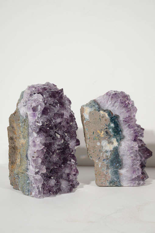 Pair of Amethyst Crystal Geode Bookends image 3