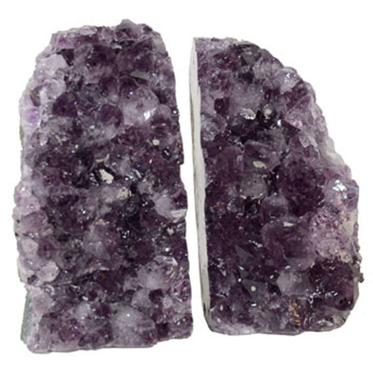 Pair of Amethyst Crystal Geode Bookends