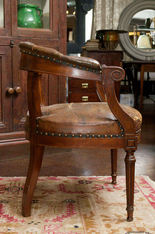 leather library chairs for sale tufted leather and mahogany barrel back library chair for 16646 | DSC 0199