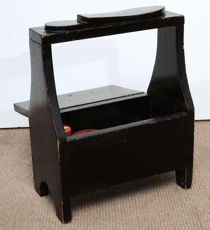 Antique black shoe-shine box 8