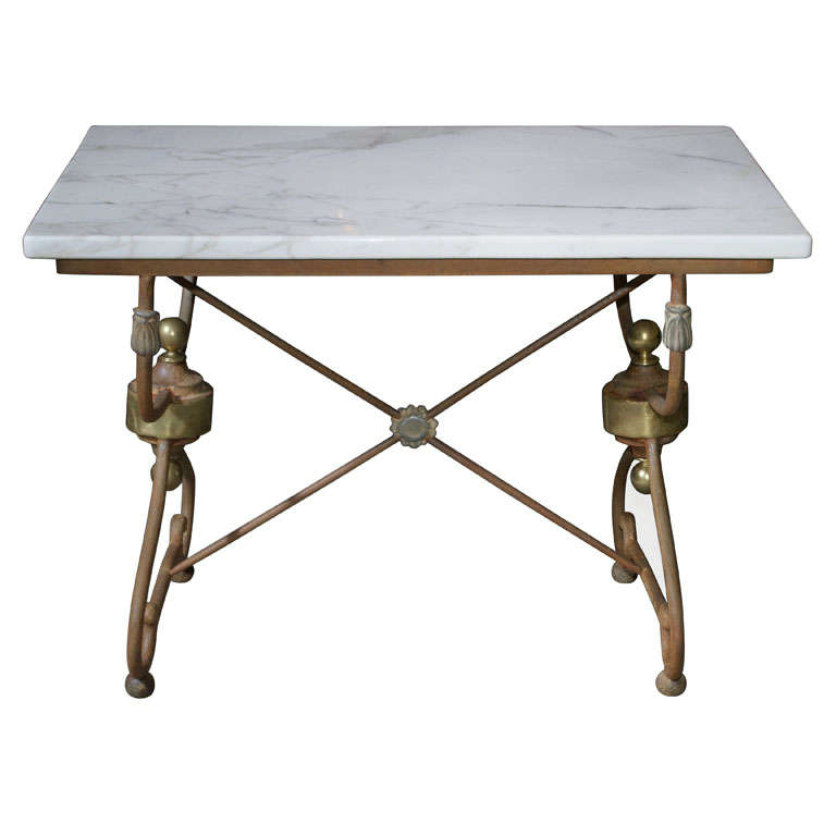 Elegant French Marble Top Butcher/Pastry Table 1