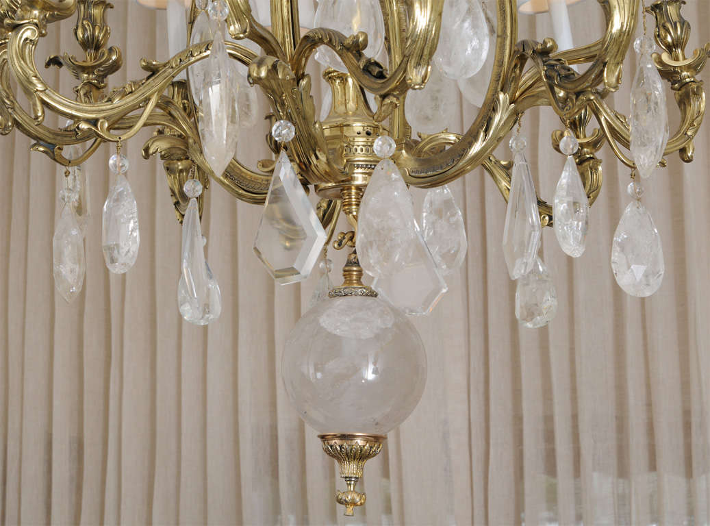 Patinated Bronze And Oversized Quartz Crystal Chandelier For Sale At - Quartz chandelier crystals
