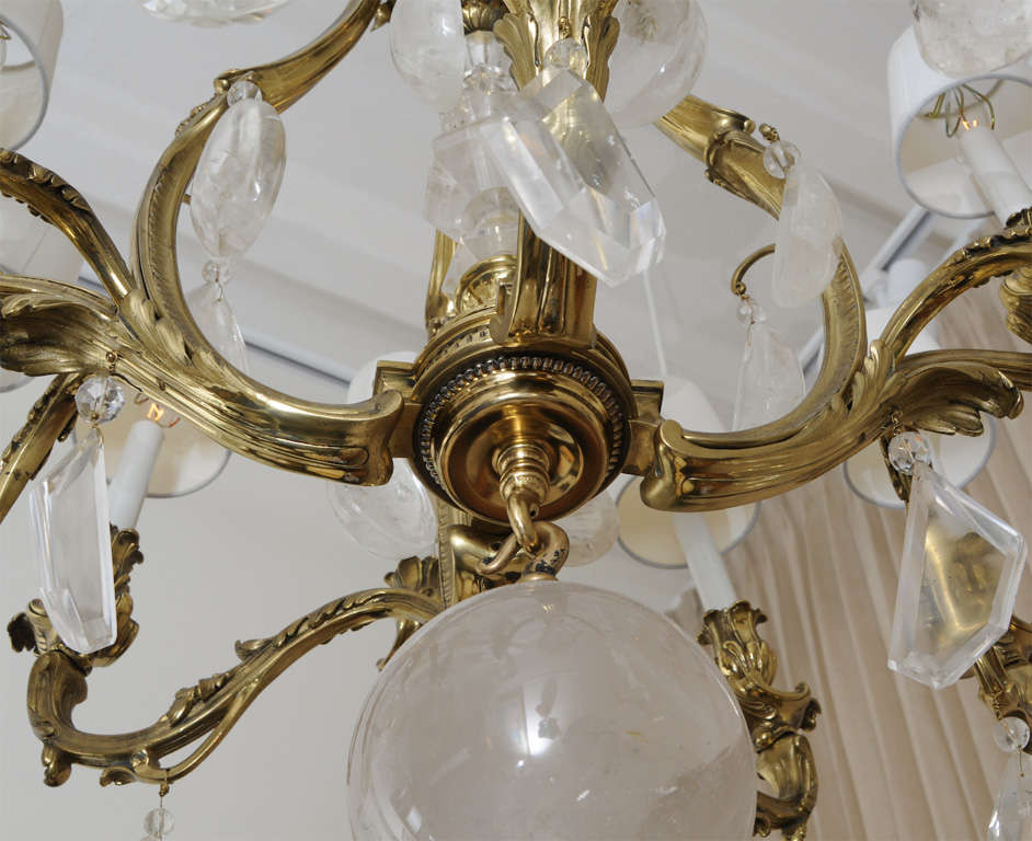 Patinated Bronze And Oversized Quartz Crystal Chandelier