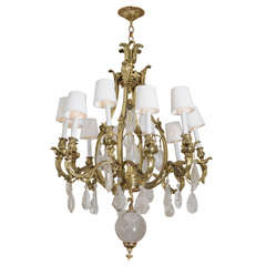French c.1900 Bronze and Oversized Quartz Crystal Chandelier