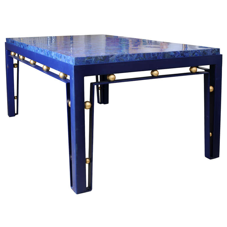Iron Table with Lapis Lazuli Top - Manner of Royere