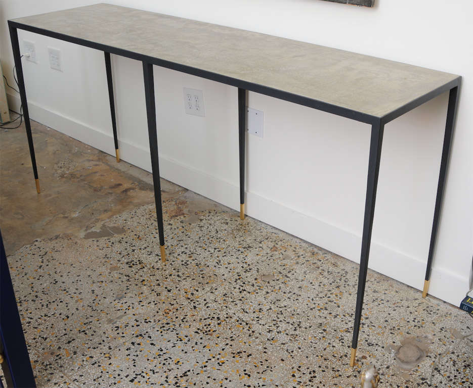 Unknown JMF Style Polished Concrete and Iron Console For Sale