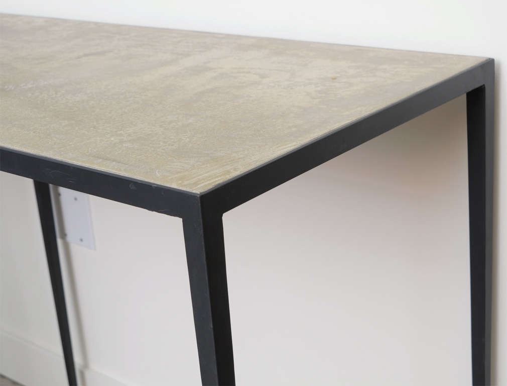 JMF Style Polished Concrete and Iron Console In Good Condition For Sale In Chicago, IL