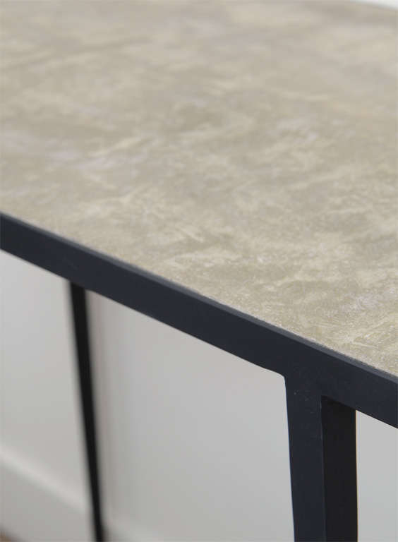 20th Century JMF Style Polished Concrete and Iron Console For Sale