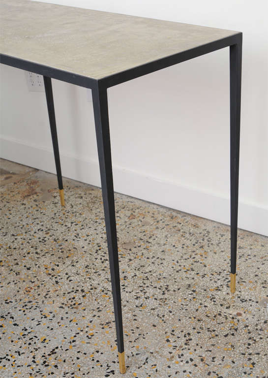 JMF Style Polished Concrete and Iron Console For Sale 1