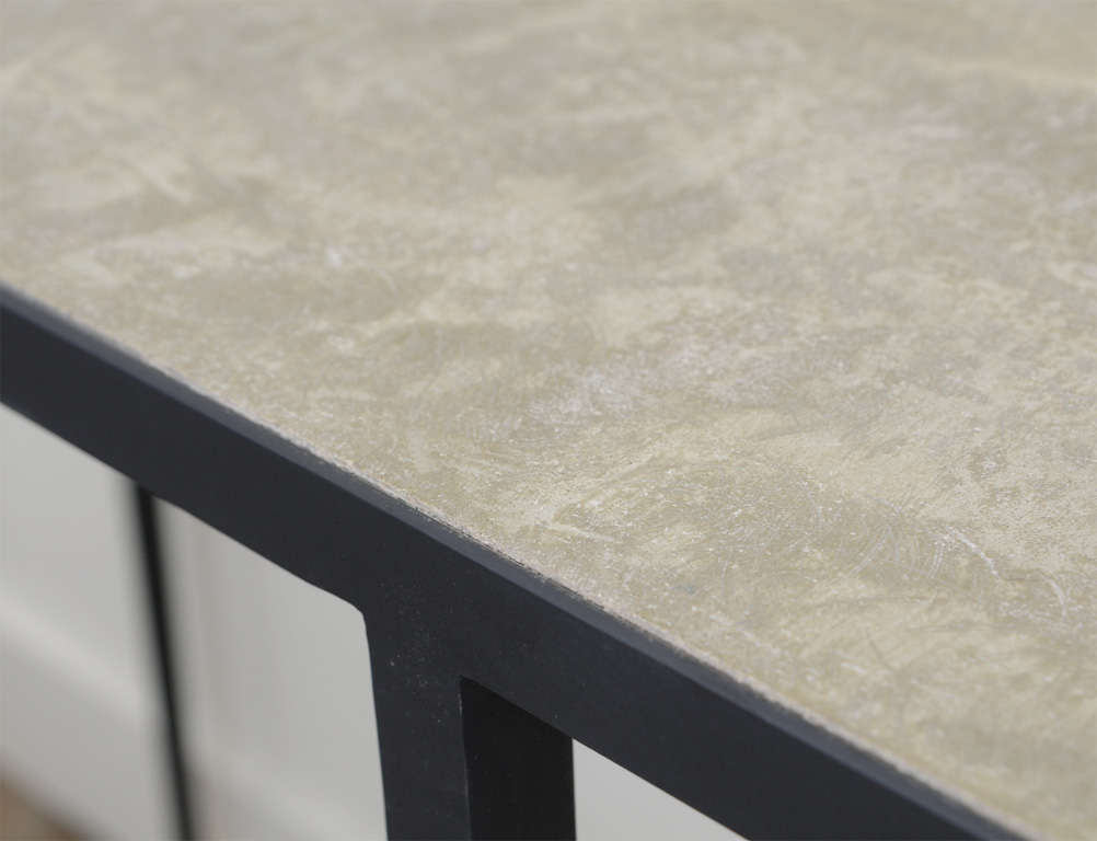 JMF Style Polished Concrete and Iron Console For Sale 3