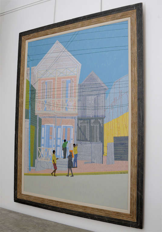 Depth and detail, this Peter Lynn large-scale painting of a street scene in St. Croix depicts a moment in time so beautifully. Great cerused oak frame.