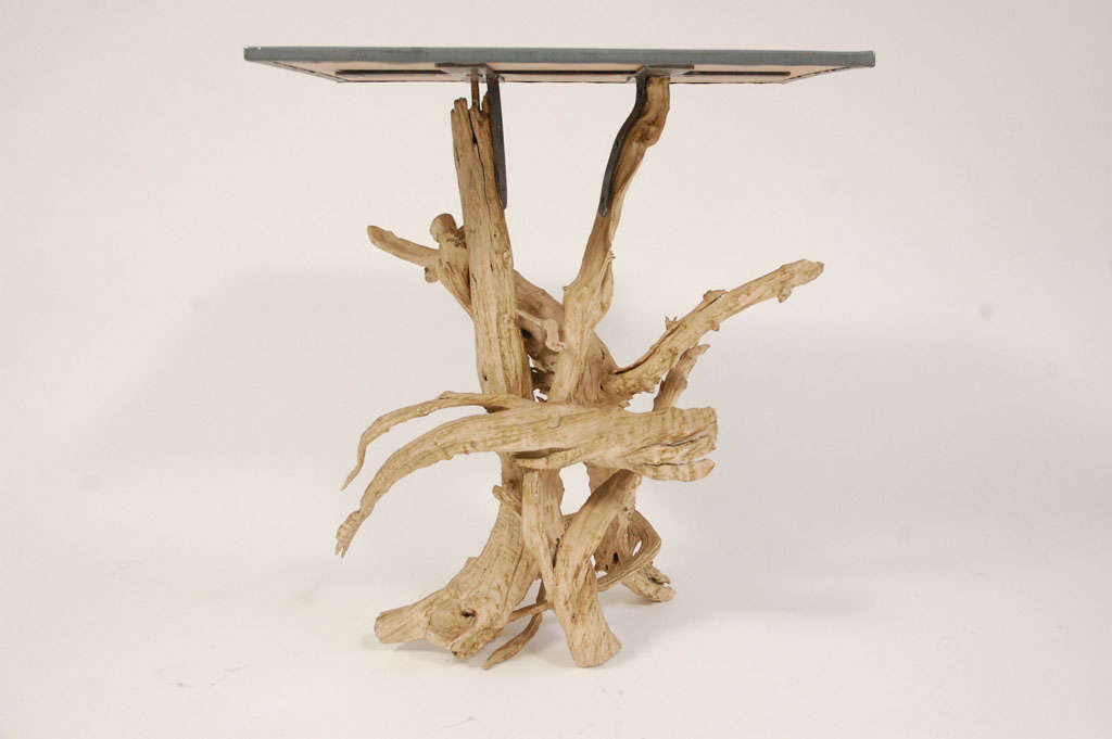 Metal Top Driftwood Side Table 3