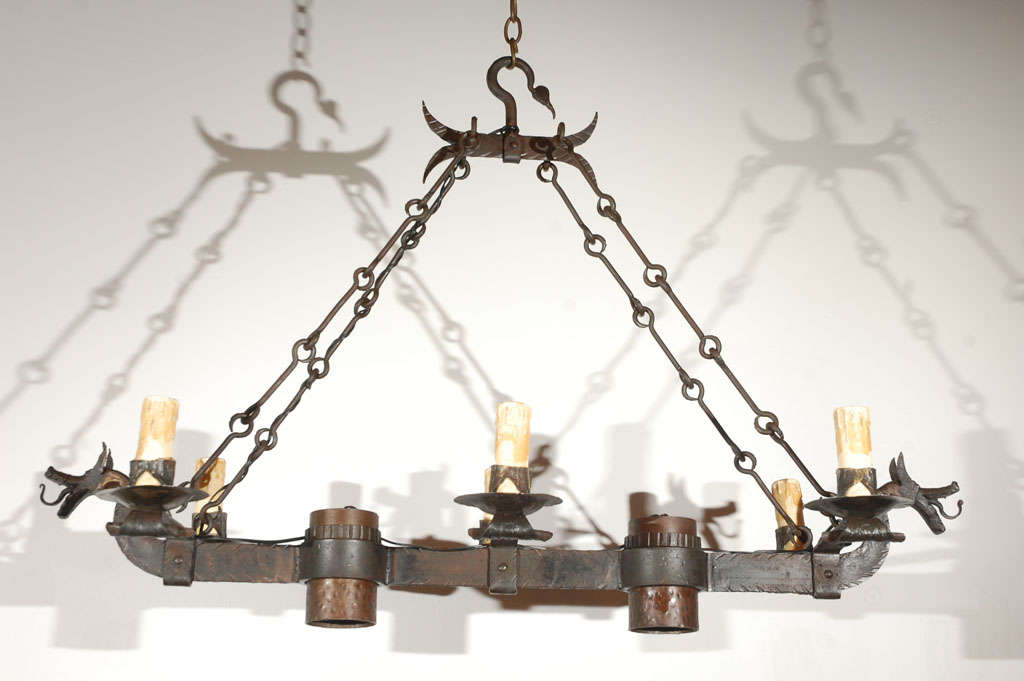 Wrought Iron Dragon Chandelier at 1stdibs