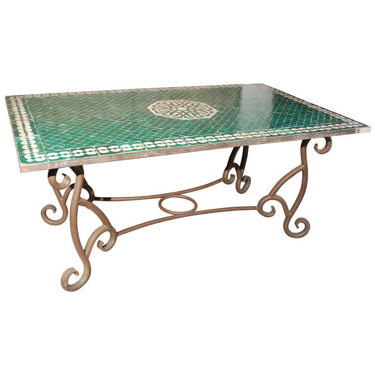 Moroccan Vintage Mosaic Green Tile Dining Table at 1stdibs : x from 1stdibs.com size 768 x 768 jpeg 45kB