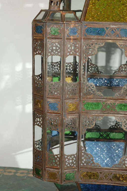 Moroccan Vintage Glass Lantern from Marrakech 5