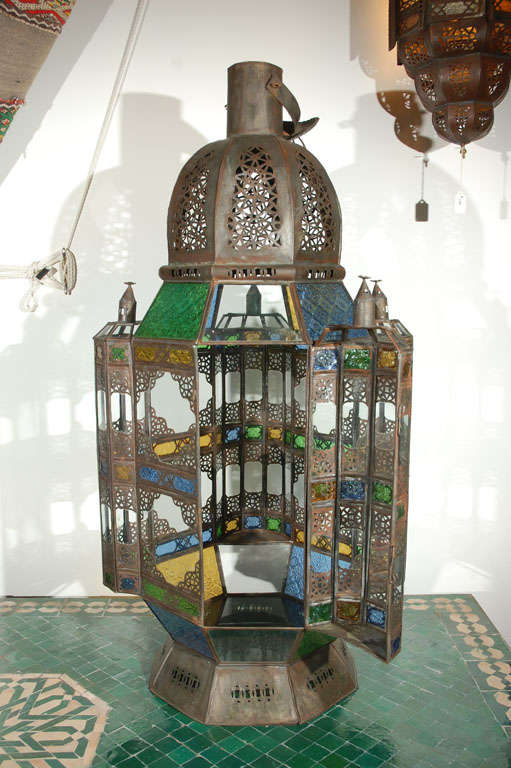 Moroccan Vintage Glass Lantern from Marrakech 8
