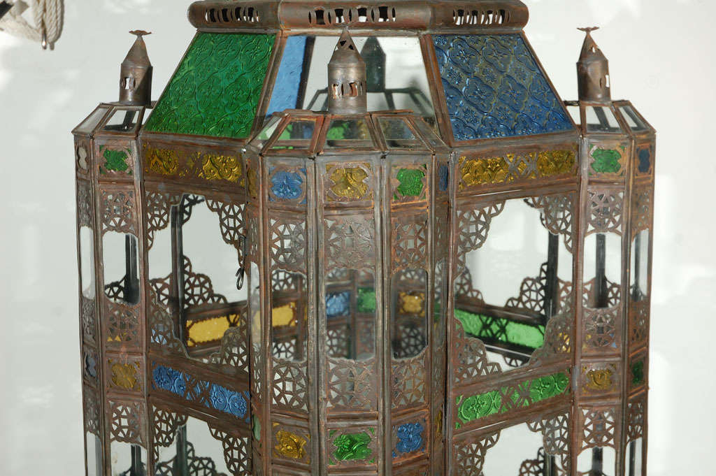 Moroccan Vintage Glass Lantern from Marrakech 9