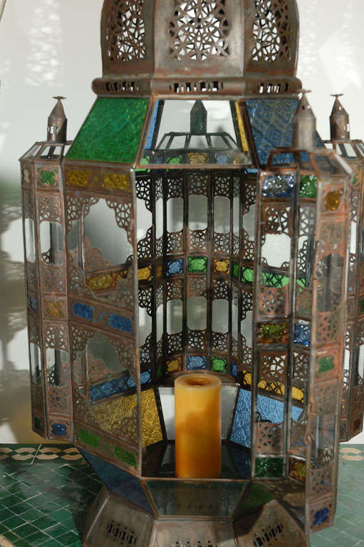 Moroccan Vintage Glass Lantern from Marrakech 10
