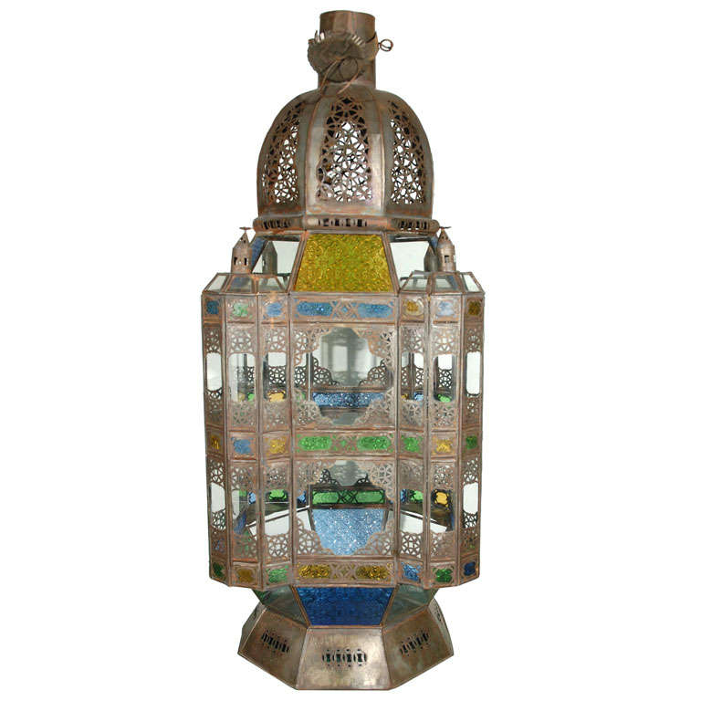 Moroccan Vintage Glass Lantern from Marrakech 1