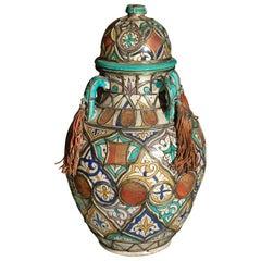Antique Moroccan Ceramic Lidded Jar Adorned with Silver Moorish Designs