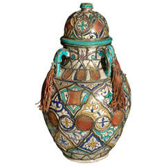 Antique Moroccan Ceramic Lidded Jar Adorned with Silver Moorish Designs
