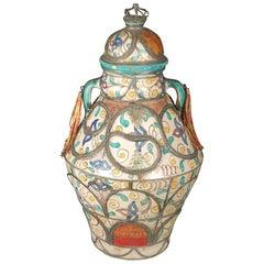 Antique Moroccan Moorish Ceramic Jar with Lid
