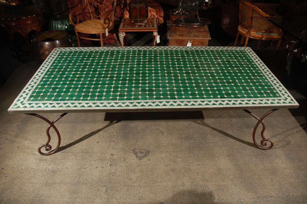 Moroccan Vintage Mosaic Green Tile Coffee Table At Stdibs - Moroccan outdoor coffee table