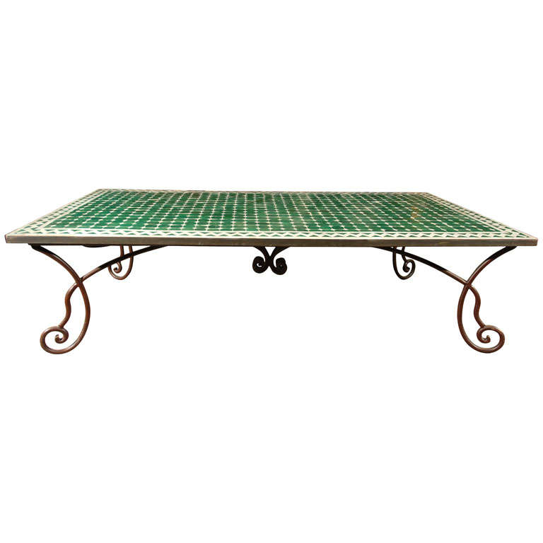Moroccan Vintage Mosaic Green Tile Coffee Table At 1stdibs