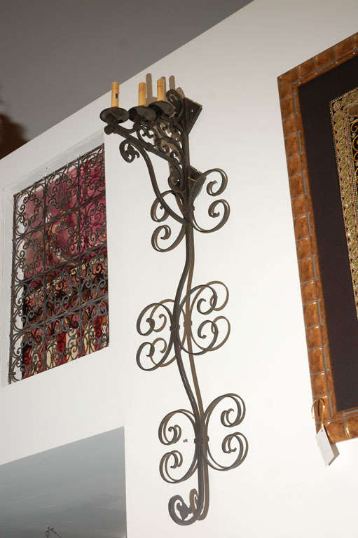 Large Iron Wall Sconces : Set of 3 Large Spanish Wrought Iron Wall Sconces with 3 Lights at 1stdibs