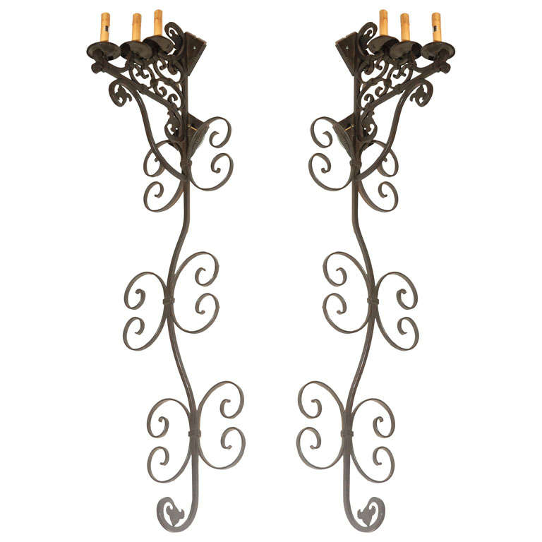 Spanish Iron Wall Sconces : Set of 3 Large Spanish Wrought Iron Wall Sconces with 3 Lights at 1stdibs