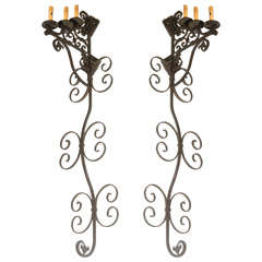 Set of Three Large Spanish Wrought Iron Wall Sconces with Three Lights