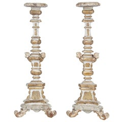 Pair of 18th C. Italian Gilt Wood Pricket Floor Altar Candlesticks