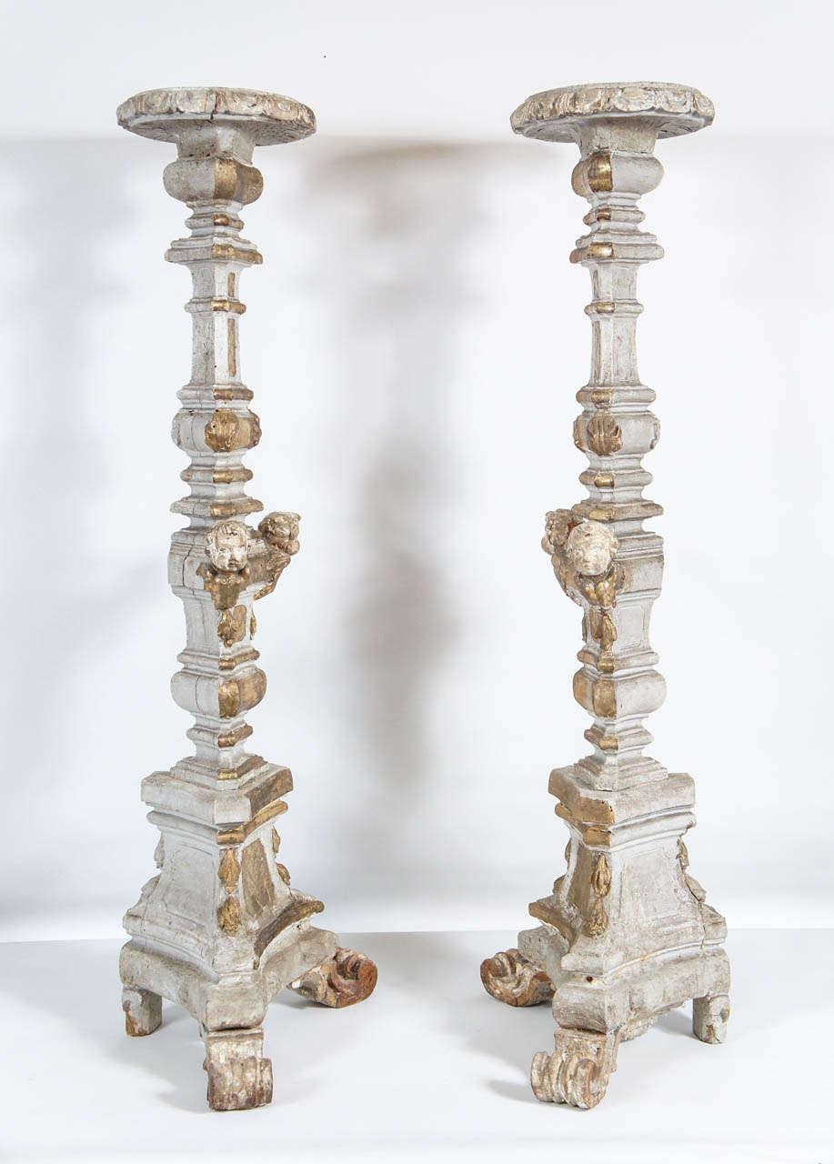 Rococo Pair of 18th C. Italian Gilt Wood Pricket Floor Altar Candlesticks For Sale