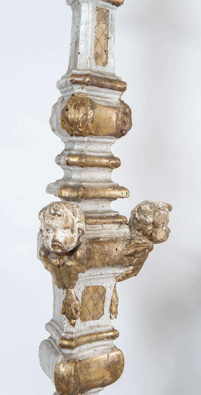 Pair of 18th C. Italian Gilt Wood Pricket Floor Altar Candlesticks For Sale 1