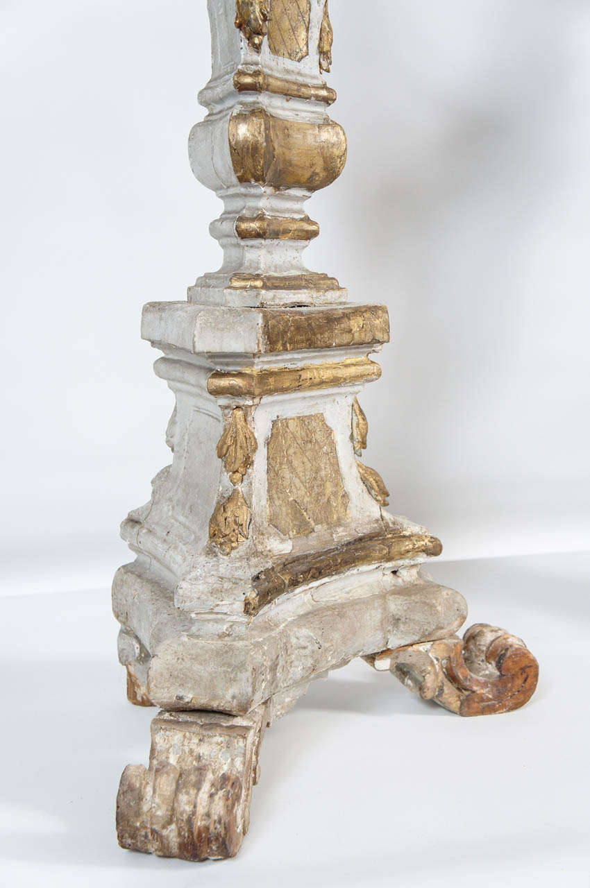 Pair of 18th C. Italian Gilt Wood Pricket Floor Altar Candlesticks For Sale 2