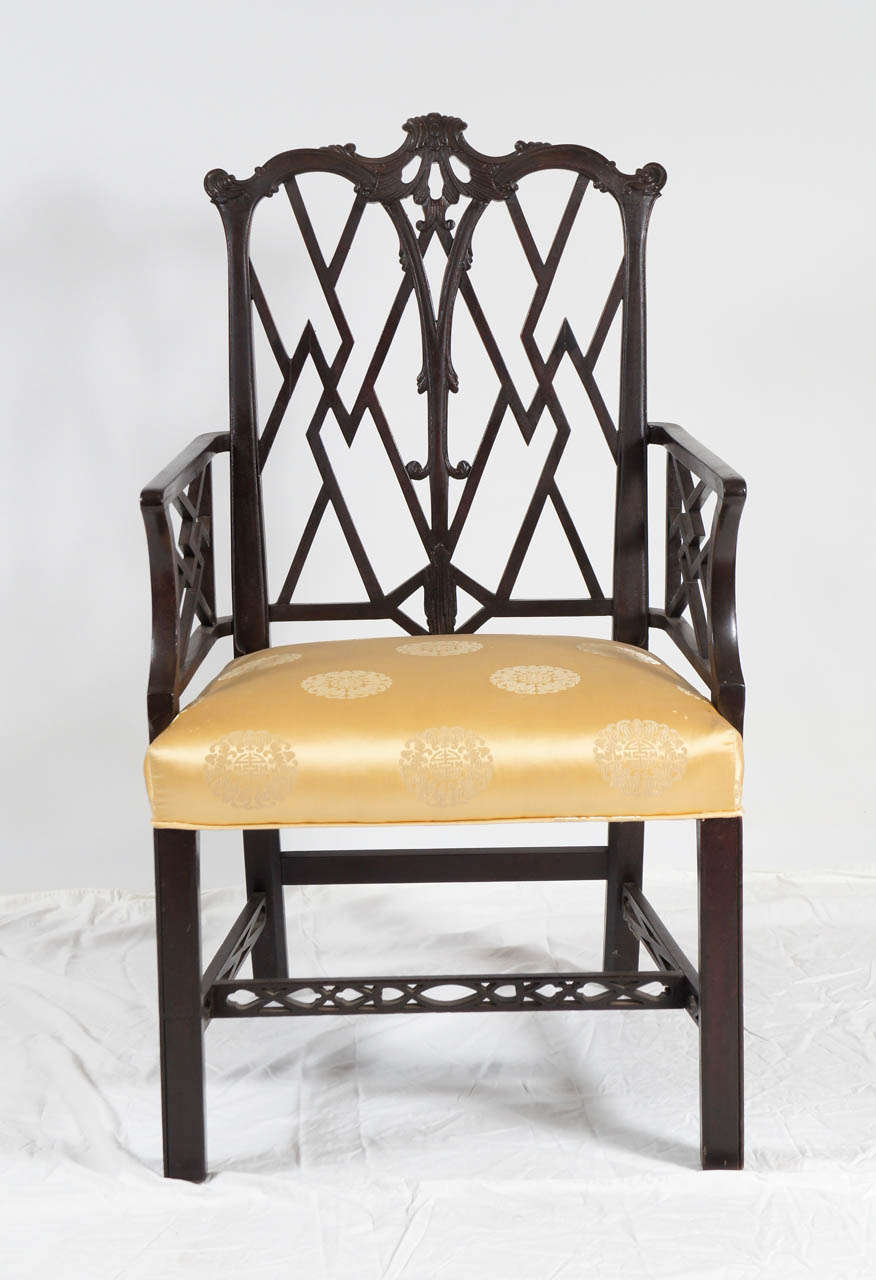 Asian Wood Arm Chairs ~ Chinese chippendale style arm chair for sale at stdibs