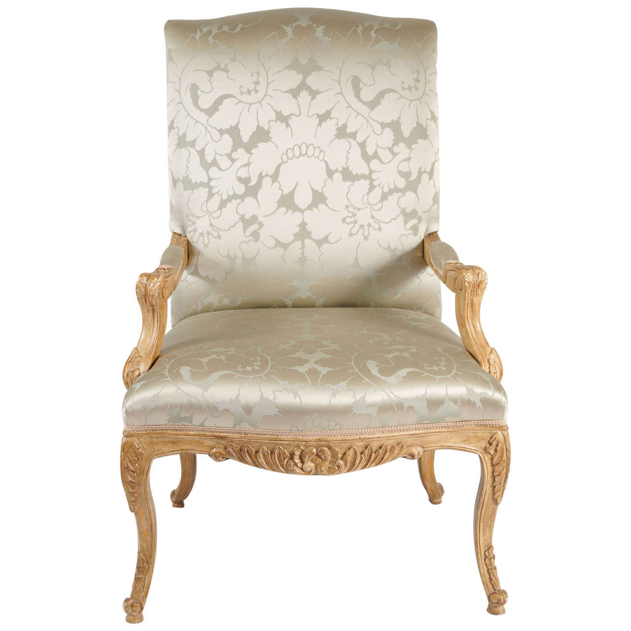 Louis XIV Style Chair Silk Damask Upholstery For Sale  sc 1 st  1stDibs & Louis XIV Style Chair Silk Damask Upholstery For Sale at 1stdibs