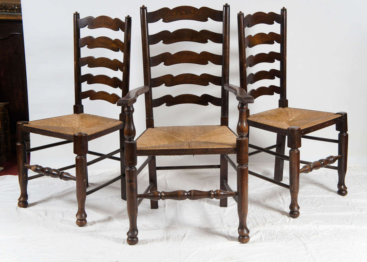 six english ladder back dining chairs at 1stdibs