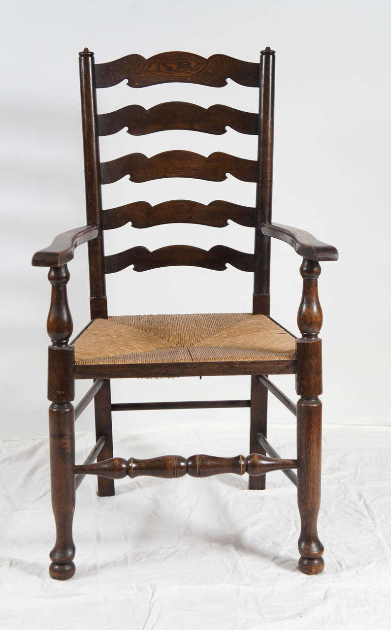 Six english ladder back dining chairs at 1stdibs Ladder back chairs