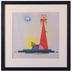 "Rudolf Bauer, ""The Holy One"" Color Litho Guggenheim Print"