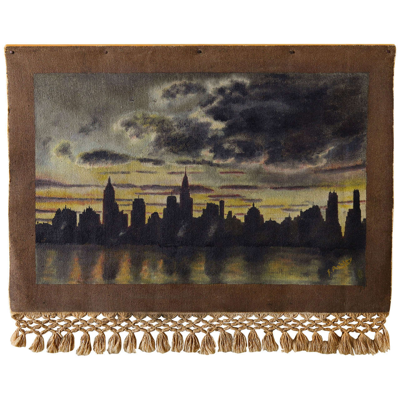 1940 Oil On Weave New York City Skyscraper Painting